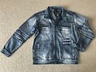 NWT Men's Contender Light Blue Distressed Moto Jean Denim Jacket ALL SIZES L-3XL