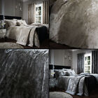 Luxury Crushed Velvet Duvet Cover Set Silver Grey Cream