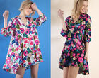 Umgee Clothing | Womens Floral Print Tunic Dress Boho Colorful Summer White Navy