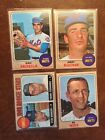 Topps 1968 50 Yrs Old - Mets & Yanks - Bahnsen, Weis & More -4(Four) Cards