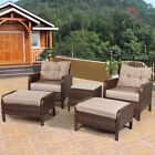5pcs Set Garden Patio Rattan Wicker Ottoman Table Chair Soft Sofa Seat Furniture