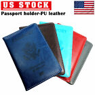 Внешний вид - Passport Holder Travel Leather Organizer Protector Cover Wallet Passport  Black