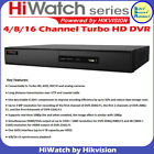 Hikvision Hiwatch 4/8/16 Channel Tubro HD DVR 3MP 4-in-1 HD-TVI Video Recorder