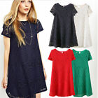 Women Lady Short Sleeve Lace Hollow Out Casual Tops A-line Skirt Dress Plus Size