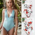 Women Sexy O-Neck/V-Neck Floral Solid Backless One Piece Swimwear N98B