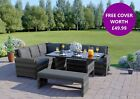 Garden Rattan Weave Furniture Corner 9 Seater Dining Table Sofa Bench FREE COVER