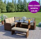 Garden Rattan Weave Furniture Corner Dining Table Sofa Bench Stools FREE COVER!