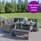Garden Rattan Weave Furniture Corner 9 Seater Dining Table Sofa Bench Stools