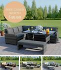 Garden Rattan Weave Furniture Corner 9 Seater Dining Table Sofa  + Free Cover