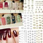 Metallic Gold Silver Flower Nail Stickers Nail Art Decals DIY Manicure N98B