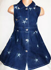 GIRLS BLUE STRETCH DENIM PEARL TRIM EMBROIDERED STARS SMART CASUAL PARTY DRESS