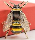 VERY REALISTIC BUMBLE BEE BROOCH INSECT BLACK GOLD LAPEL PIN BROACH FASHION