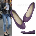 AnnaKastle Womens Round Toe Genuine Leather Comfort Ballet Flat Shoes Purple