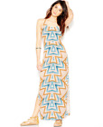 Free People Serves You Right Mustard Teal Geometric Print Maxi Dress Sz 10 NEW