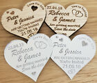 PERSONALISED SAVE THE DATE WEDDING FRIDGE MAGNETS WOODEN SILVER MIRROR HEART
