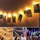 30 Photo Window Hanging Peg Clips Led String Lights Home Party Fairy Decor