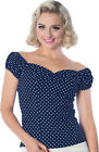 Dancing Days I CARRIED A WATERMELON Polka Dot BLUSE Shirt - Navy Rockabilly