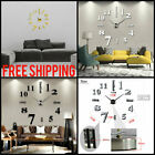 Modern DIY Large Wall Clock 3D Mirror Sticker Unique Big Number Watch Home Decor