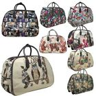 New Women's Faux Leather Canvas Printed Wheeled Suitcase Travel Holdall