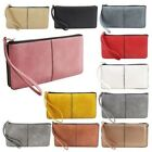 New Synthetic Leather Wrist Strap Card Slots Ladies Zipped Wallet Purse