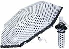 "44"" Arc Mini Auto-Open Polka Dot Umbrella - RainStoppers Rain/Sun UV"