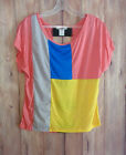 Block Colors Cut Out Back Top size choice S M L or XL