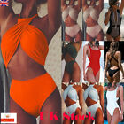 UK Womens High Waist Bandage Swimwear Swimsuit Monokini Summer Beach Bikini Set