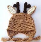 CROCHET REINDEER EAR FLAP BABY HAT knit infant toddler cap beanie photo prop USA