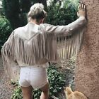 ZARA FAUX SUEDE JACKET WITH FRINGE SIZE SMALL REF 6318 023