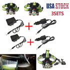 3SetsTactical 50000LM 3 T6 Rechargeable LED Headlamp Lamp Torch Light+Charger US