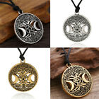 Celtic Tree of Life Triple Moon Goddess Pendant Necklace Wicca Pagan Druid Chain