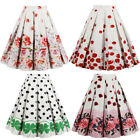 Women Vintage Skirt Fruit&Floral Printing High Waist Flared Pleated Midi Dress