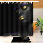 Make-up Afro-American Girl Waterproof Fabric Bathroom Mat Shower Curtain Liner