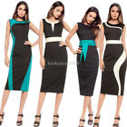 Elegant Summer Womens Stretch Bodycon Party Dress Lady Sleeveless Pencil Dress