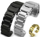 Stainless Steel 23mm Metal Replacement Watch Band Strap Double Locking Clasp #03 image