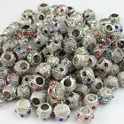 10Pcs Czech Crystal Silver Round Ball Big Hole Charm Beads for European Bracelet