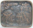 Vintage MEDIEVAL KNIGHTS WARRIORS Fighting War Scene Metal Plaque Castle Sun dtl