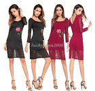 New Sexy Womens Flower Bodycon Lace Hollow Out Slim Pencil Mini Party Dress