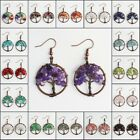 Natural Amethyst Peridot Tourmaline Chip Bead Tree of Life Copper Hook Earrings