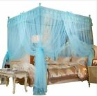 Sky Blue Ruffled Four 4 Post Bed Canopy Netting Curtains Sheer Panel ANY SIZE image
