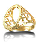 Jewelco London Men's Solid 9ct Yellow Gold Love Hearts Full Sovereign Mount Ring