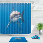 Waterproof Mexico Great White Shark Shower Curtain Set Bathroom Decor Mat Hooks