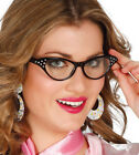 Ladies 1950s 1960s Glasses Fancy Dress Costume Prop Black & Pink NEW