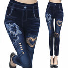 Lady Floral Leggings Skinny High Waist Jeans Trousers Denim Stretchy Pencil Pant