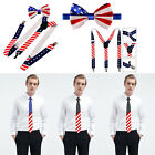 Men's USA American Flag Necktie Bow Tie and Suspender Patriotic Star and Stripes