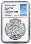 2018-W Burnished American Silver Eagle NGC MS70 FDI First Day Label SKU53958