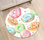 Colorful Watercolor Donuts Round Floor Mat Bedroom Carpet Living Room Area Rugs