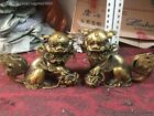 China Old Vintage Copper Brone Guardian Lion Foo Fu Dog Door guard Statue A Pair