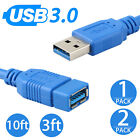 3FT 10FT Premium USB 3.0 A Male to Female Extension Super Speed Cable Cord Blue