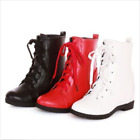 Women's Mid Wedge Heel Ankle Boots Lace Up Casual Faux Leather Eound Toe Shoes